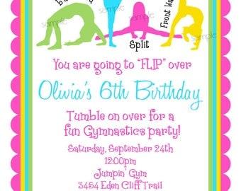 Gymnastics Invitations, Gymnastics birthday Invitations, Gymnastics Birthday Party,Girls,  BIrthday, Children