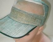 Lawn Mowing Cap - Woven Banana Cloth Made in Japan  Vintage 1955 Blue and White