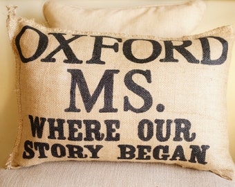 Where Our Story Begins Burlap Pillow - outdoor custom - engagement -anniversary - wedding