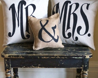 Custom Mr & Mrs  Pillow set black/creamy-white/burlap