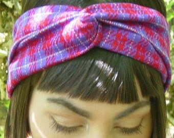 Retro style/ vintage reclaimed/ knit fabric headband (in red, white and purple)/ vintage inspired/ bohemian/ earth friendly/ recycled