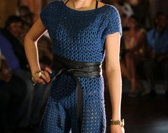 Teal V Neck Crochet Jumpsuit - Custom sizes -