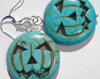 turquoise blue pumpkin jack-o-lanterns in magnesite stone pierced dangle hand made wire wrapped earrings