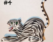 Jungle Wild Cats Oaxacan Woodcarving Alebrijes Animals  by Zeny and Reyna Fuentes