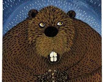 Midnight Beaver Print