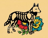 Day of the Dead Dog GERMAN SHEPHERD Dia de los Muertos Art Print 5 x 7, 8 x 10 or 11 x 14 - Choose your own words - Shelter Donation