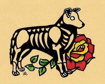 Day of the Dead Dog BORDER COLLIE Dia de los Muertos Art Print 5 x 7, 8 x 10 or 11 x 14 - Choose your own words - Shelter Donation