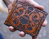 Men's Leather Wallet-Celtic Dragons Knot Work Leather Wallet-Men's Leather Wallet-Men's Celtic-Leather Wallet-Leather Wallets Norse Wallets