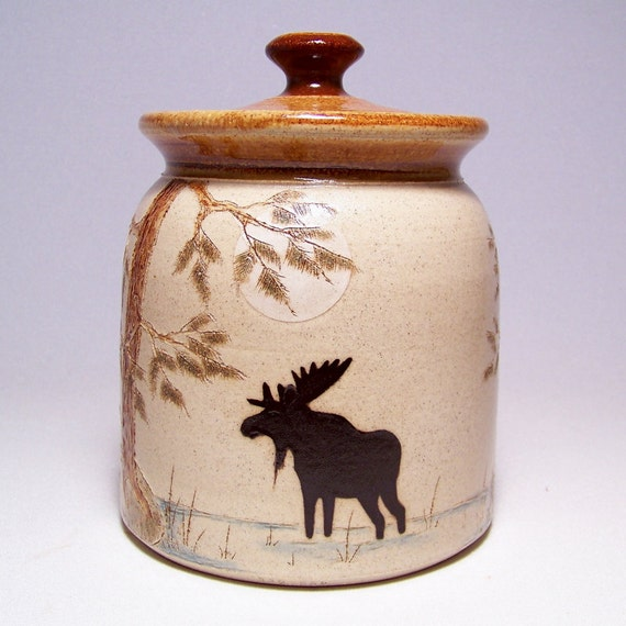 Moose and Wolf Pottery  Canister 1 quart Limited Series 119