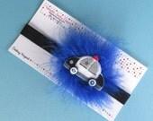 Posh Police Car blue marabou pouf clip and black headband set