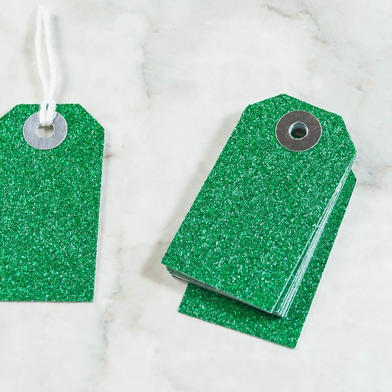 10 Emerald Green Glitter Mini Parcel Tags - Mini Gift Tags, Glitter Gift Tags, Gift Wrapping, Wedding Favors, Metallic Gift Tags, Mini Tags