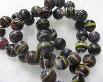 Millefiori Glass Beads ( 40 )  Round 8mm Swirl