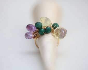 Ring: Lemon Topaz, Amethyst and Emerald Gemstone Cluster with gold-plated wire, Size 8
