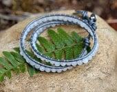 Rainbow Moonstone Leather Wrap Bracelet