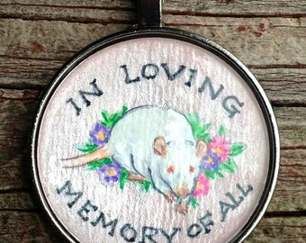 Pew/Lab Rat/Feeder Memorial Pendant/Key Ring Wearable Art for the Rat Lover