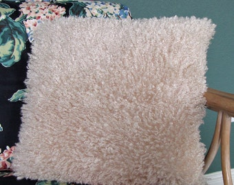 Throw Pillow Home Decor  created with Faux Fur Off White Fibers