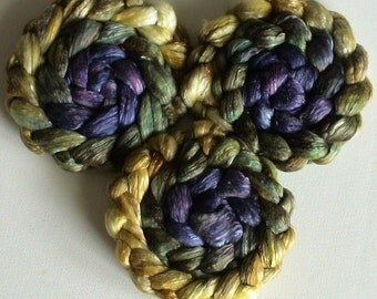 Roving for spinning  50/50 hand dyed silk and superfine merino roving 2ozs PRE order Iris