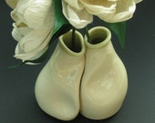 Creamy white bud vase set - Unique engagement gift - Unique wedding gift - 440