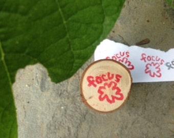 hand made FOCUS rubber stamp with flower or cloud on wooden branch