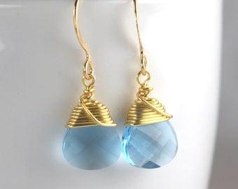 Aquamarine Gold Earrings. Aqua Blue Gold Earrings. March Birthstone Gold Earrings #837