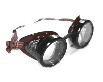 Steampunk Goggles Vintage WELSH Steam Punk Driving Glasses Two Tone BROWN Frames Black Eye Caps and Vents STUNNING - Steampunk by edmdesigns