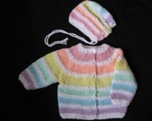 Handknit Pastel Rainbow Cardigan and Hat for Baby