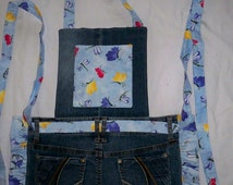 Recycled Jeans Apron w/Bib for Girls, Long ties, Butterflies on Light Blue, Sz. 8 - 12