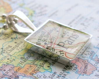 Vintage Map Sterling Silver Square Necklace.  You Select the Journey.  jewelry-gifts-under-50