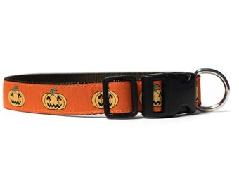 1 Inch Wide Dog Collar with Adjustable Buckle or Martingale in Jack-o-Lanterns