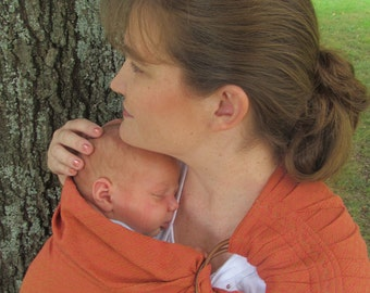 Ring Sling Carrier - Wide Baby Sling  - Signature Series Handloomed - Apricot - DVD included