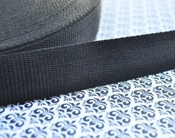 3 yards of 1 inch Nylon Webbing in Black (Medium Weight)