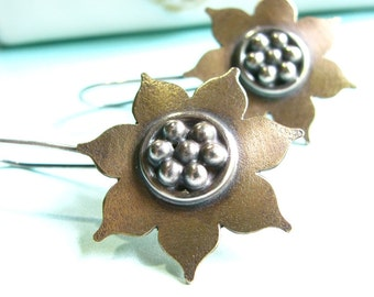 Golden Lotus Earrings, Bronze And Sterling Silver Mixed Metal Earrings, Flower Earrings, Contemporary Metalsmith Earrings, Artisan Jewelry