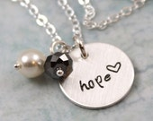 Hope Jewelry, Hope Necklace, Inspirational Her, Minimal Necklace, Engraved Necklace, Sterling Silver Necklace, Custom Hand Stamped