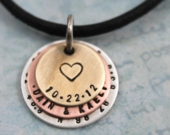 Gift for Dad, mens personalized necklace, Mens Coordinates, Couples Names, Latitude & Longitude, Zodiac Sign, Custom Hand Stamped