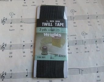 Vintage Black Twill Tape--3 Yards--Unopened Package