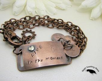 Live in the moment inspirational copper bracelet, silver rivet