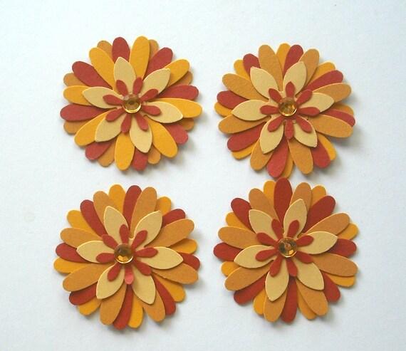 Handmade Paper Flowers, Card Making Embellishments, Scrapbooking Supplies, Rust, Mustard Yellow and Pumpkin Orange, Set of 4