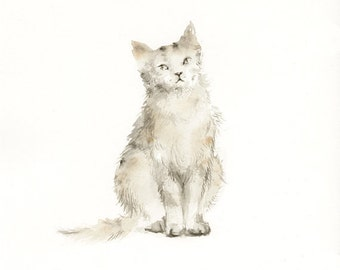 Cat watercolor print