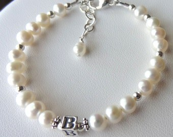 Sterling Silver Freshwater Pearl Initial Baptism Bracelet, Flower Girls Bracelet, Perzonalized, Monogram, Monogrammed, First Communion