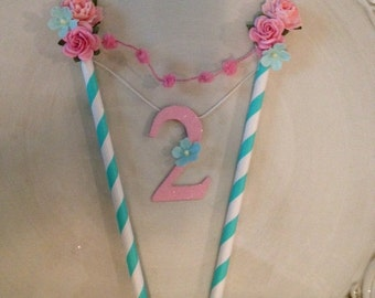 Shabby Chic Cake Bunting for Birthday Party With number