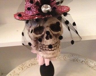 Pretty in Pink Skull Halloween Decoration Halloween Ornament