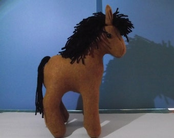 Horse, Roan, Small Size, Stuffed Toy Paper Pattern for you to SEW, Plushie, Black Mane and Tail, Colt, Stallion, Filly, Mare,