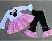 Bubble Gum Pink Minnie Mouse Girl Outfit, Minnie Mouse Tiered Top And Pant Outfit,  Pink Minnie Mouse Birthday Party outfit