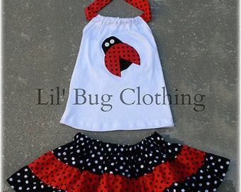Custom Boutique Clothing  Ladybug Red and Black Dot Tiered Halter Skirt  Birthday