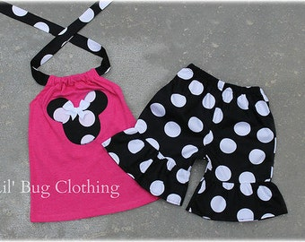Custom Boutique Clothing Black White Hot Pink Jumbo Dot Minnie Mouse Short Halter Set