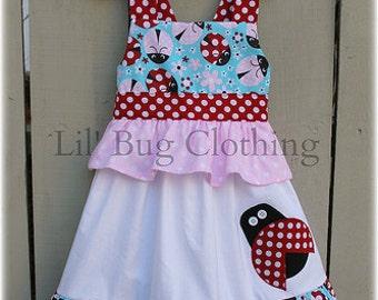 Ladybug Jumper Dress, Summer Spring Ladybug Dress, Ladybug Birthday Girl Dress, Custom Boutique Ladybug Dress