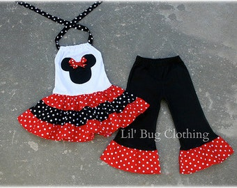 Custom Minnie Mouse Red and Black  White Polka Dot  Tiered Halter Dress and Leggings
