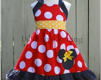 Custom Boutique Clothing Minnie Mouse Halter Swing Dress