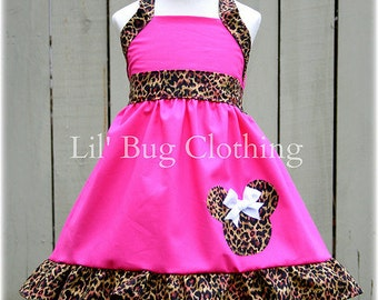 Custom Boutique Clothing Leopard and Hot Pink  Minnie Mouse Halter Dress