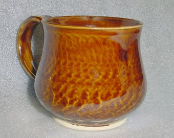 Amber Wheel Thrown Pottery Mug Coffee Cup or Tea Cup with Chattering for Texture
